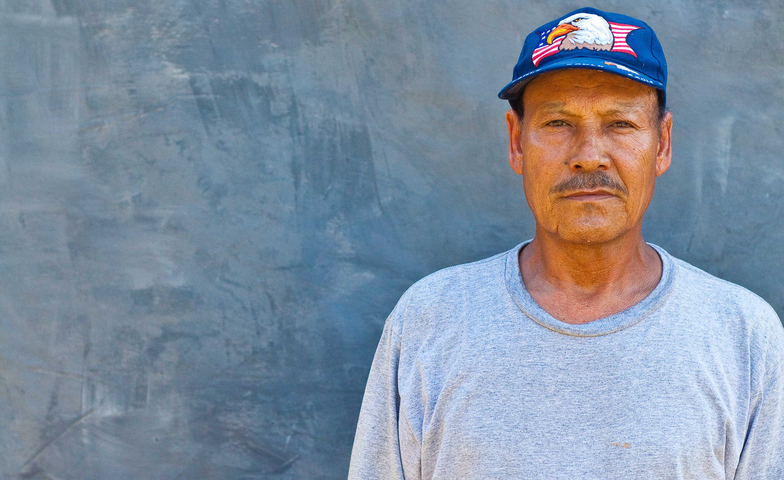 Portrait series of working people  at the workplace, a farm worker near Seattle